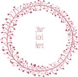 Hand Drawn pink wreath. royalty free stock image