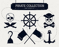 Hand drawn pirate collection of elements. Royalty Free Stock Image