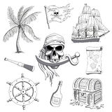 Hand Drawn Pirate Design Elements Royalty Free Stock Images