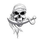 Hand Drawn Pirate Skull Royalty Free Stock Image