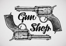 Hand-drawn pistols. Gun shop. Sketch revolver vector illustration. Hand drawn pistols. Gun shop. Sketch revolver vector illustration Stock Images