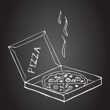 Hand drawn pizza in box on a chalkboard. Pictures drawn in chalk on a blackboard. Sketch, doodles. Hand drawn elements for your design. Menu for pizzeria Stock Photography