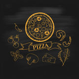 Hand-drawn pizza illustrations Royalty Free Stock Photos