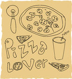 Hand drawn pizza lover set Royalty Free Stock Photos