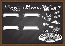 Hand drawn pizza menu on chalkboard design template. Ready to use Stock Photos