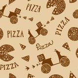 Hand drawn pizza seamless background Royalty Free Stock Images