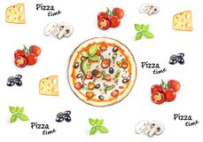Hand drawn Pizza time background with pizza ingridients. Tomtoes, cheese, basil, mushrooms and olives Vector Illustration