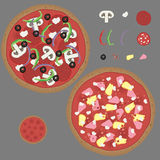 Hand Drawn Pizza Vector Kit. That includes two pre-made pizzas (pepperoni and ham & pinapple), a blank pizza, and eleven toppings (mushroom, feta, pepperoni Stock Photography