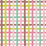 Hand drawn plaid seamless pattern background. Colorful plasticine stripes texture. For print and web. Vector royalty free illustration