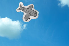 Hand Drawn Plane in the Sky Royalty Free Stock Image