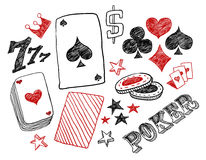 Hand drawn poker designs Royalty Free Stock Photos