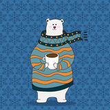 Hand drawn polar bear wearing scarf. Hand drawn cute polar bear wearing scarf Vector Illustration