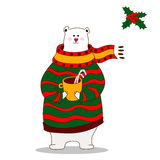 Hand drawn polar bear wearing scarf. Hand drawn cute polar bear wearing scarf Stock Illustration