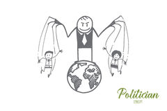 Hand drawn politician playing with people as toys Royalty Free Stock Image