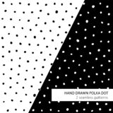 Hand drawn polka dot patterns vector illustration