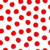 Hand drawn polka dots red on white seamless vector background. Red circles repeating pattern. Cute backdrop. Use for stock illustration