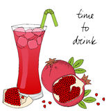 Hand drawn pomegranate cocktail with ice on white background. Vector illustration stock illustration