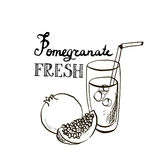 Hand drawn pomegranate juice in glass Royalty Free Stock Images