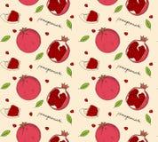 Hand drawn pomegranate seamless pattern. Vector illustration stock illustration