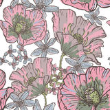 Hand drawn poppy flowers seamless pattern Royalty Free Stock Image