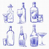 Hand drawn popular drinks - ballpoint pen sketch alcohol bottles and glasses. Vector illustration Vector Illustration
