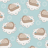 Hand drawn portion of cakes seamless pattern Royalty Free Stock Image