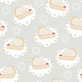Hand drawn portion of cakes seamless pattern Royalty Free Stock Photography