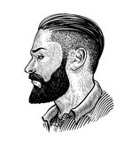 Hand drawn portrait of bearded man in profile. Hipster sketch. Vintage vector illustration Royalty Free Stock Image