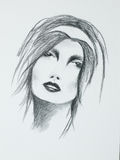 Hand drawn portrait of beautiful sensual woman Royalty Free Stock Image