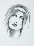 Hand drawn portrait of beautiful sensual woman. Hand drawn black and white portrait of beautiful sensual woman Royalty Free Stock Image