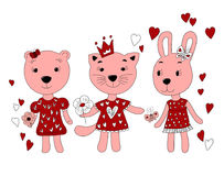 Hand drawn portrait of cute Bunny,bear,cat in a dress. Vector illustration of a girlfriend in red Stock Photo
