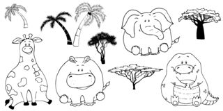 Hand drawn portrait of a cute funny fat animals. Set of isolated objects on white background. Vector illustration with giraffe, stock illustration