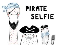 Cute pirate animals. Hand drawn portrait of a cute funny platypus, flamingo, cactus in pirate hats, taking selfie. Isolated objects on white background. Line Royalty Free Stock Photo