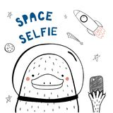 Cute space platypus. Hand drawn portrait of a cute funny platypus in space with a smart phone, taking selfie. Isolated objects on white background. Line drawing Royalty Free Stock Photography