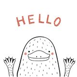 Cute funny platypus. Hand drawn portrait of a cute funny platypus, waving, with text Hello. Isolated objects on white background. Line drawing. Vector Royalty Free Stock Photo