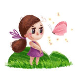 Hand drawn portrait of cute little girl with long hair standing on the green grass next to flying butterfly Stock Images