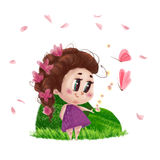 Hand drawn portrait of cute little girl standing on the green grass with flowers in long hair isolated Royalty Free Stock Photos