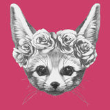 Hand drawn portrait of Fennec Fox with floral head wreath. Vector isolated elements Stock Photos