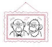 Hand drawn portrait in frame two funny monkeys vector illustration