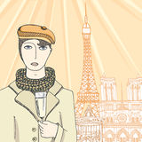Hand drawn portrait of a french guy Royalty Free Stock Photos