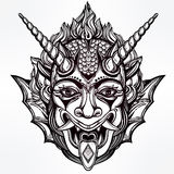 Hand drawn portrait of a horned daemon.  Royalty Free Stock Images
