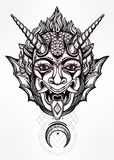 Hand drawn portrait of a horned moon deamon. Hand drawn portrait of a horned deamon with moon. Vector illustration isolated. Ethnic design, mystic tribal symbol Royalty Free Stock Photo