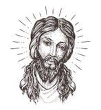Hand-drawn portrait of Jesus Christ. Sketch vector illustration Stock Image