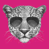 Hand drawn portrait of Leopard with sunglasses. Vector  elements Stock Photo