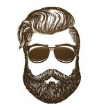 Hand drawn portrait of man with beard. Hipster, sunglasses sketch. Vintage vector illustration. On white background Stock Photo