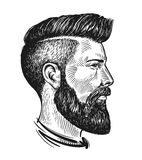 Hand drawn portrait of man in profile. Hipster sketch. Vintage vector illustration Royalty Free Stock Photo