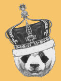 Hand drawn portrait of Panda with crown. Vector Royalty Free Stock Images