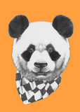 Hand drawn portrait of Panda with scarf. Vector  elements Stock Photos