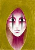 Hand drawn illustration of strange pink alien Royalty Free Stock Images