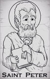 Hand Drawn Portrait of Saint Peter Image Chiseled in Stone, Vector Illustration Stock Photography